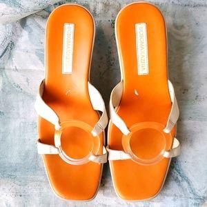BCBG Maxazria Orange Cream Leather Ring Wedges